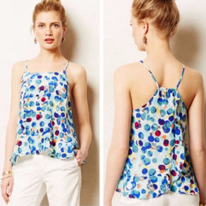 Maeve Anthropologie Silk Polka Dot Zaballa Top